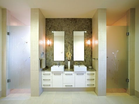 Frosted matching glass doors on shower and toilet
