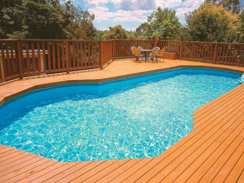 ABOVE GROUND POOL Once regarded as the ugly duckling of backyard swimming pools, above ground pools are making a comeback due to their affordability and quick installation process. Plus above ground pools can then be paved, decked and landscaped so that it gives the appearance of an in-ground pool.