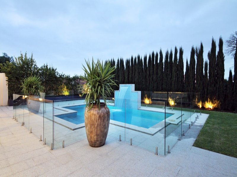 Modern Pool Design find this pin and more on interior design modern pool Modern Pool Design Using Brick With Pool Fence Decorative Lighting Pool Photo 120430
