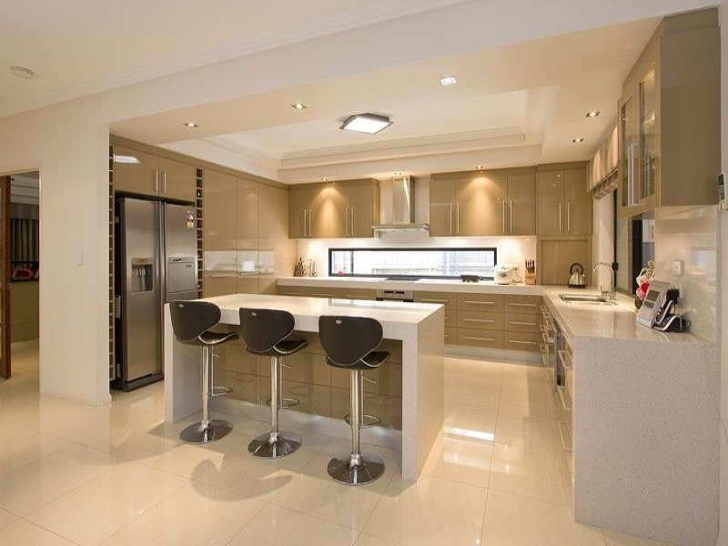 Modern open plan kitchen design using polished concrete for Open kitchen designs photo gallery