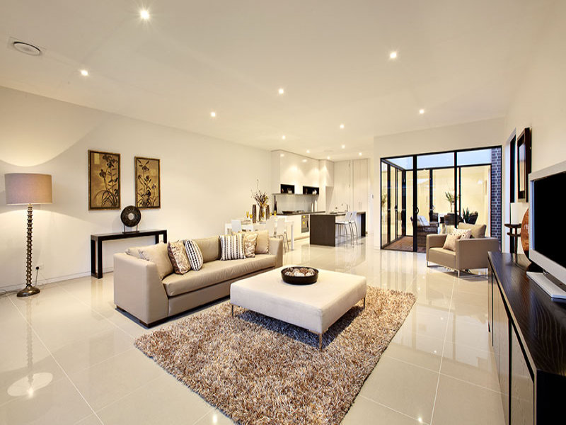Open plan living room using beige colours with tiles u0026 floor-to-ceiling windows - Living Area ...