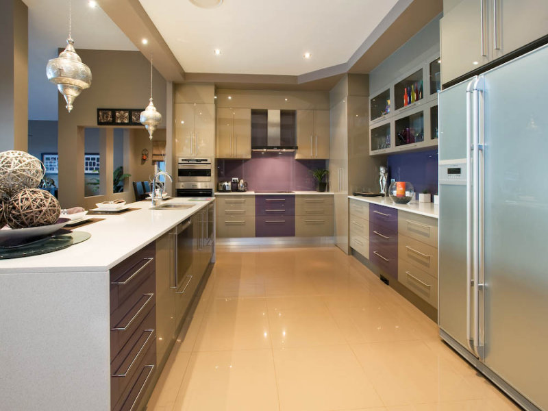 Modern galley kitchen design using tiles kitchen photo for Modern galley kitchen ideas