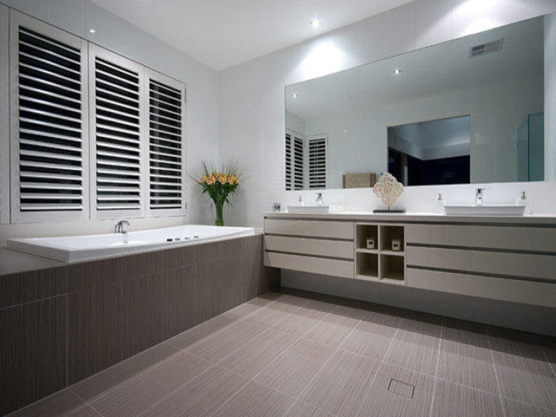 Classic bathroom design with recessed bath using ceramic Bathroom design service cardiff