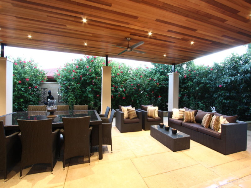 Outdoor living design with pergola from a real australian for Living area design ideas