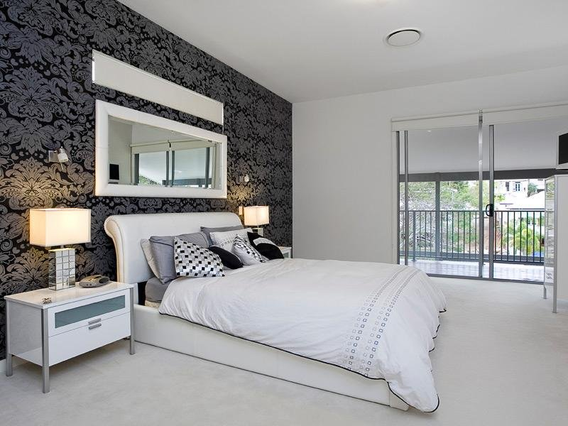 Modern bedroom design idea with carpet & balcony using