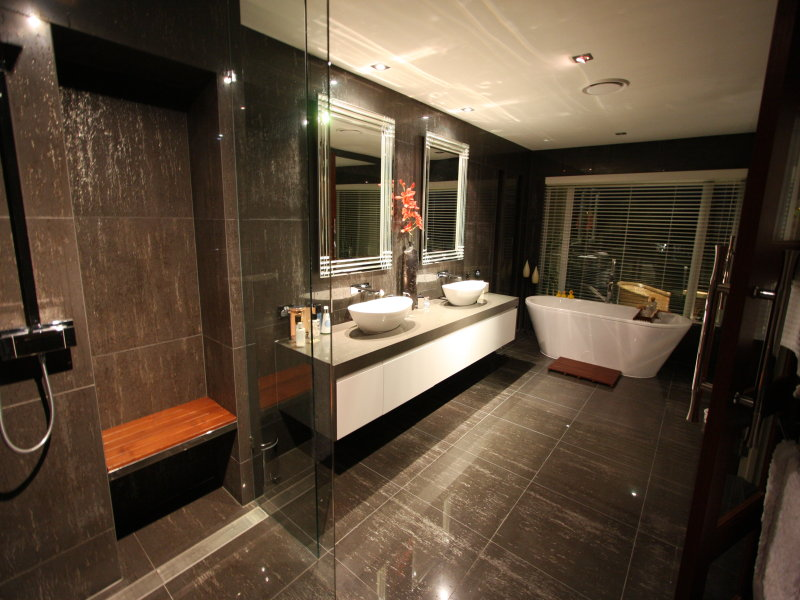 Modern bathroom design with freestanding bath using for Dark bathrooms design