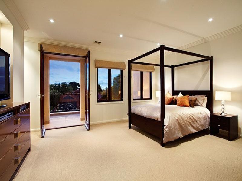 Modern Bedroom Design Idea With Carpet amp French Doors Using Brown Colours Photo 247790