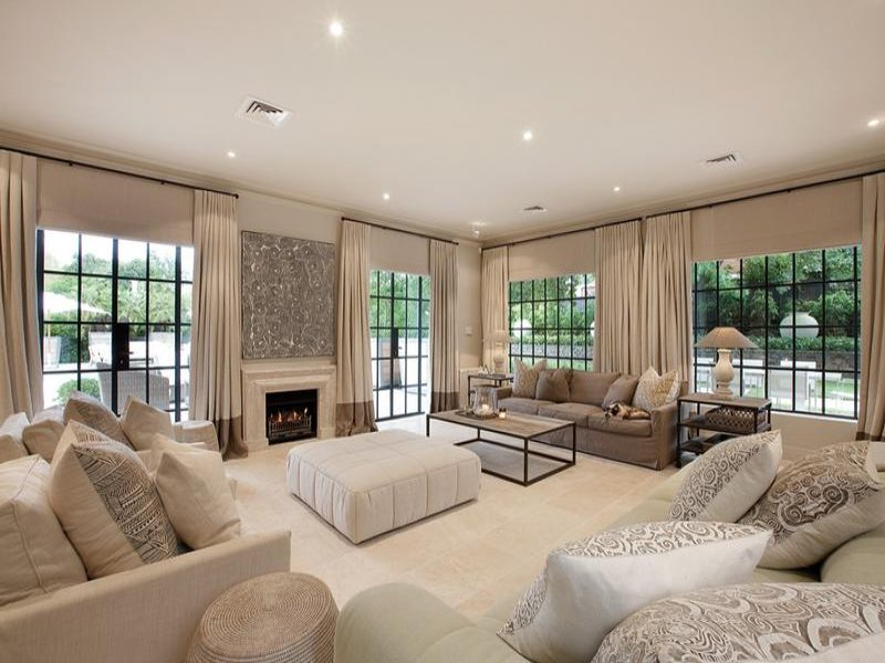 Open Plan Living Room Using Beige Colours With Carpet Fireplace Area Photo 256047