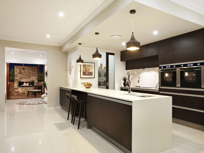 Modern galley kitchen design using granite kitchen photo for Open kitchen designs photo gallery