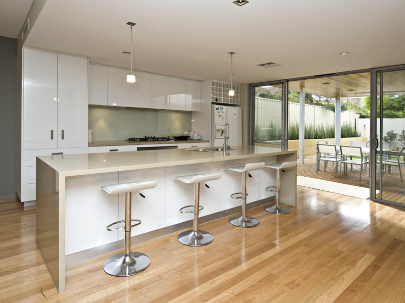 modern island kitchen design using floorboards kitchen photo 433840