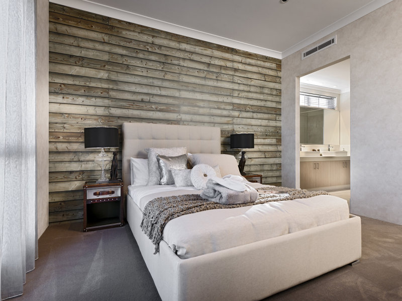 Grey bedroom design idea from a real australian home for Grey feature wallpaper bedroom