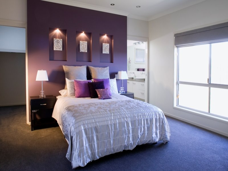 Purple bedroom design idea from a real australian home bedroom photo 659171 - Feature bedroom wall ideas ...