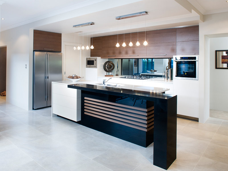 Modern kitchen living kitchen design using marble for Kitchen benchtop ideas