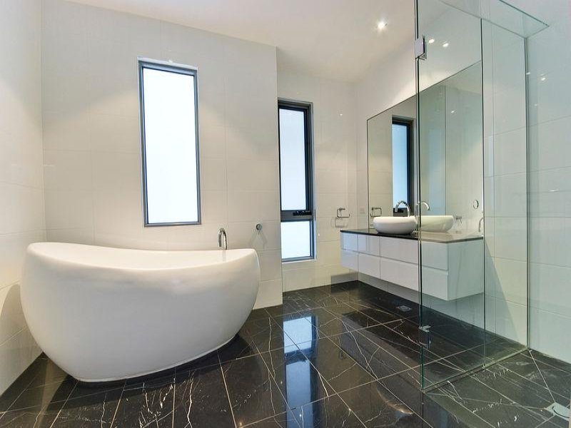 Modern bathroom design with freestanding bath using for New bathroom floor ideas