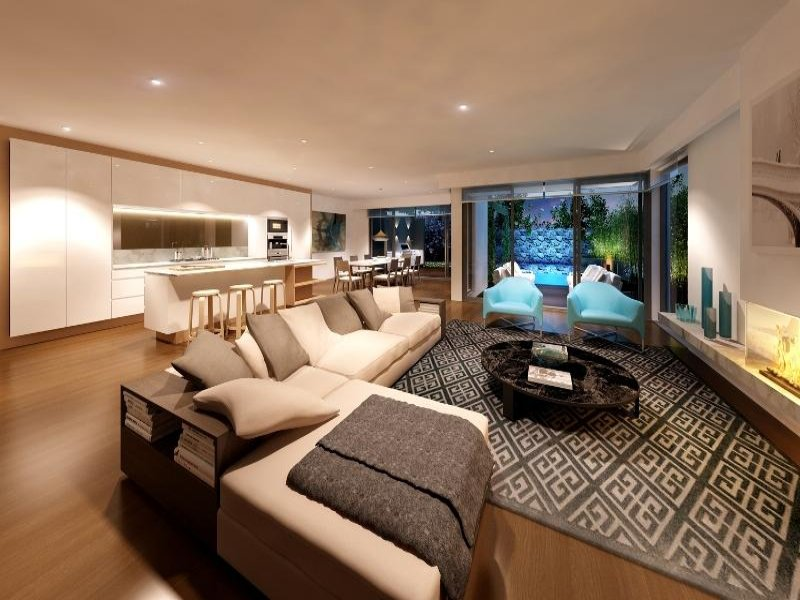 Living Area Ideas Of Open Plan Living Room Using Brown Colours With Carpet