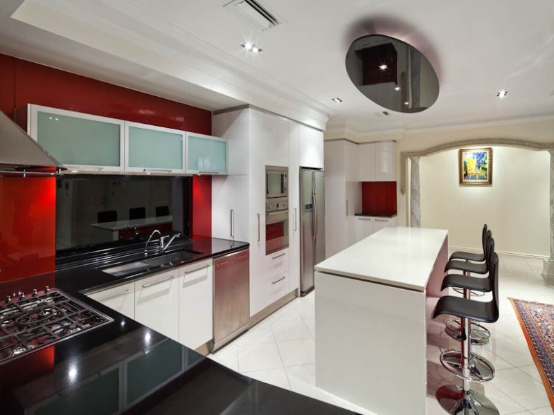 Modern kitchen dining kitchen design using granite for Modern kitchen design australia